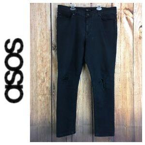 💙Men's ASOS Dark Black Slim straight Leg size 36